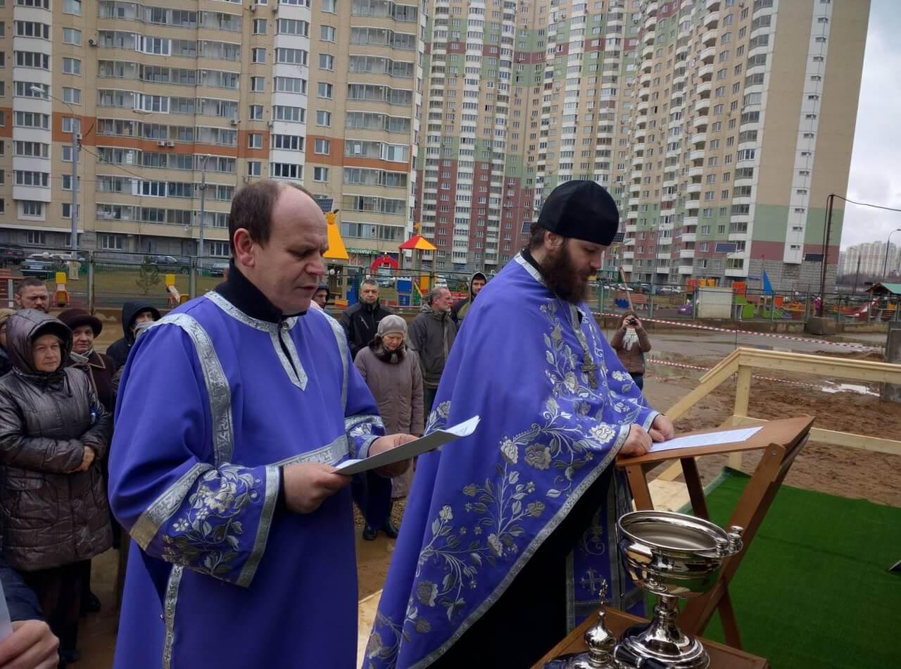 Освящение колоколов храма в Павшинской пойме