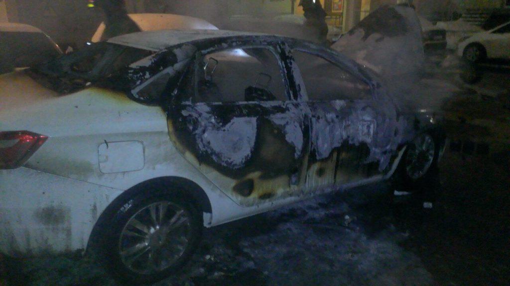 В Павшинской пойме произошел пожар, в котором полностью сгорела иномарка.